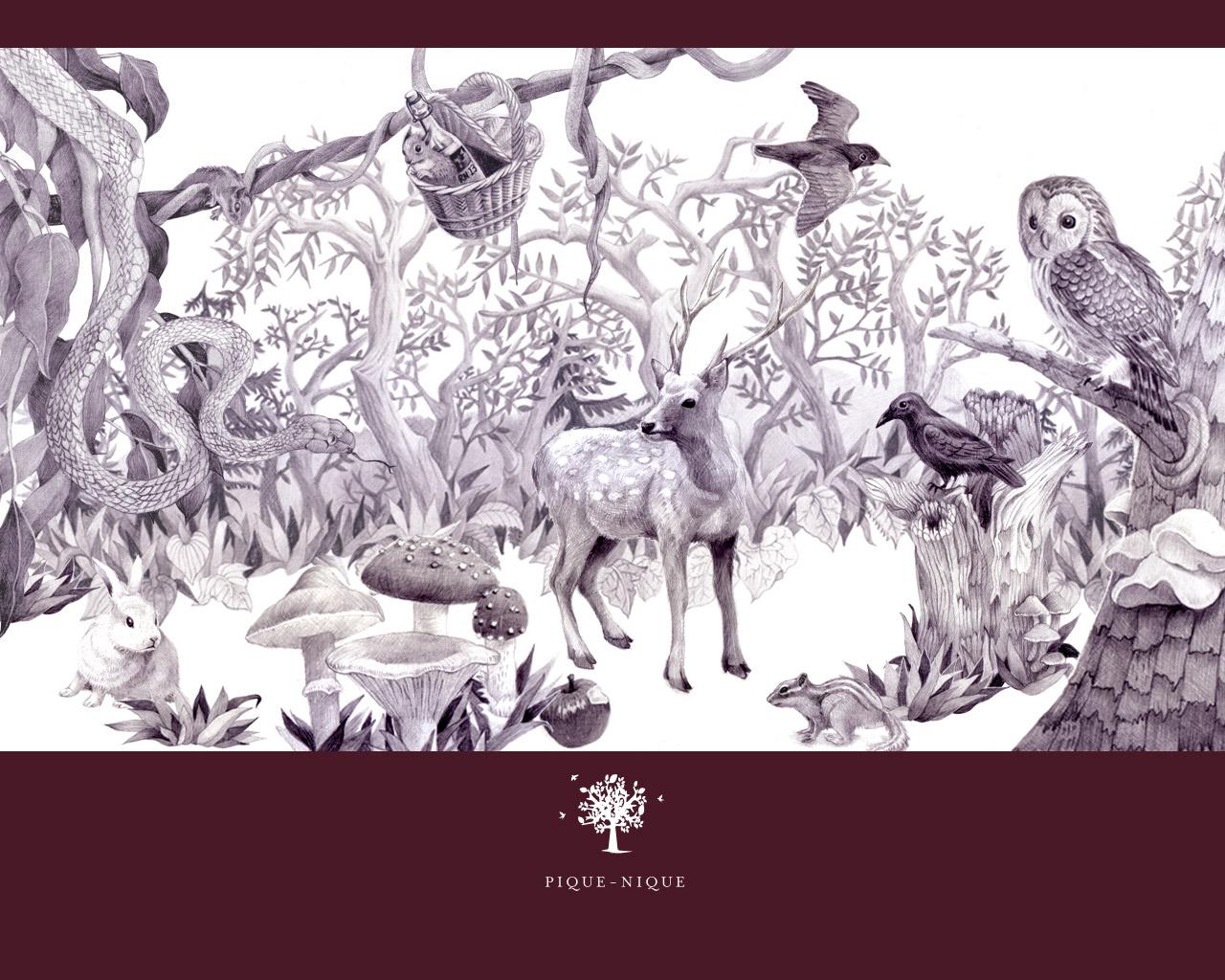 ピクニック壁紙〜木目、動物イラスト、ワインレッド|スタッフブログ